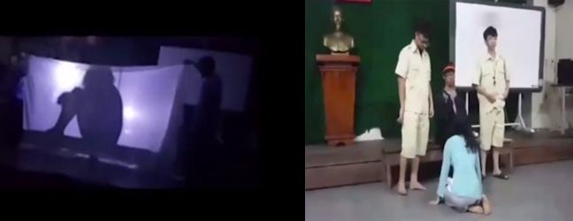 Học sinh của thầy giáo Đạt tái hiện những cảnh nóng sau bức màn vải.