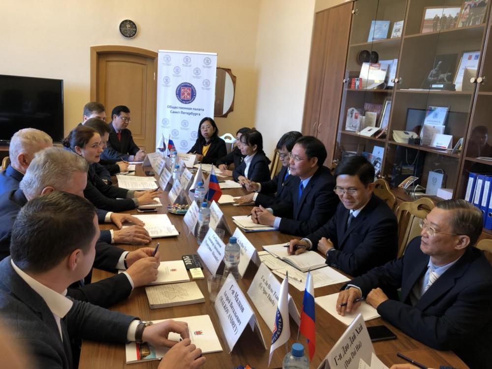 Đoàn công tác của Ủy ban Mặt trận Tổ quốc Việt Nam TPHCM thăm và làm việc tại Phòng Xã hội, TP.Saint Petersburg, Liên bang Nga. Ảnh: MT