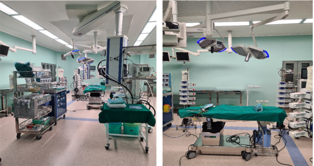 Phòng mổ đã sẵn sàng cho phẫu thuật tách dính tại bệnh viện Nhi đồng Thành phố