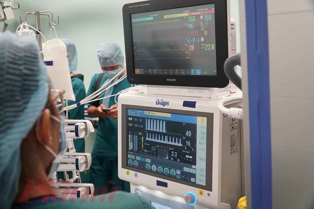 Y, bác sĩ không rời mắt khỏi các thiết bị