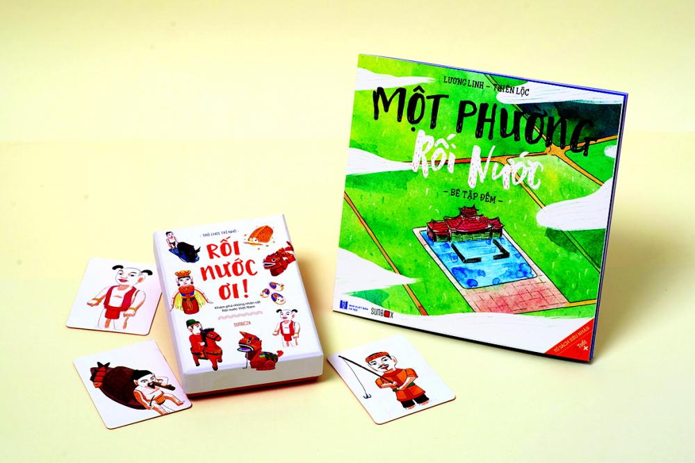 Sách và bộ đồ chơi tương tác đậm tính văn hóa dân gian Một phường rối nước nằm trong Tủ sách siêu nhân do Sunbox thực hiện để gây quỹ hoạt động