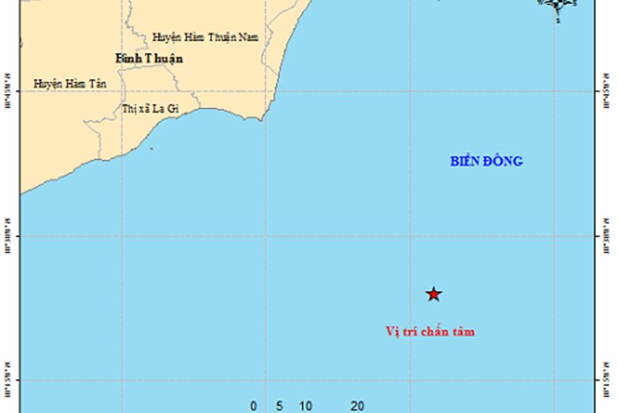 Bản đồ tâm chấn trận động đất ngoài khơi biển Bình Thuận.