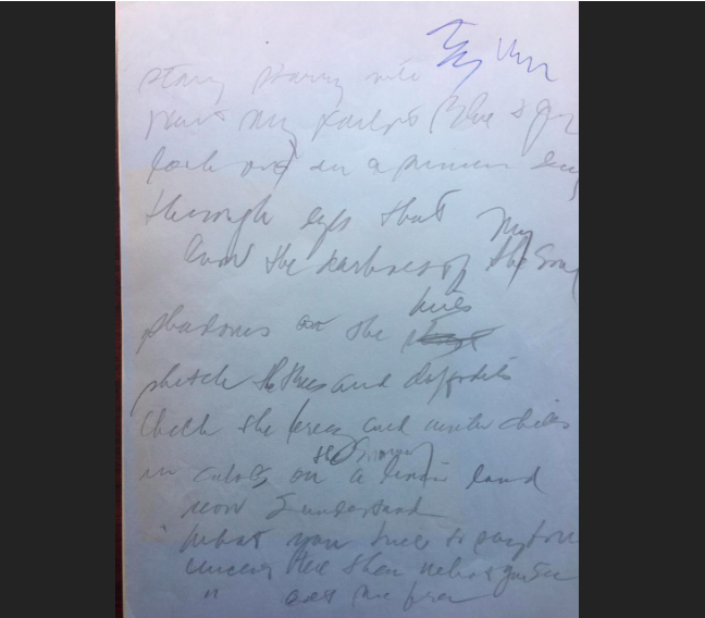 Bản thảo ban đầu của ca khúc Vincent với những dòng chữ nghuệch ngoạc