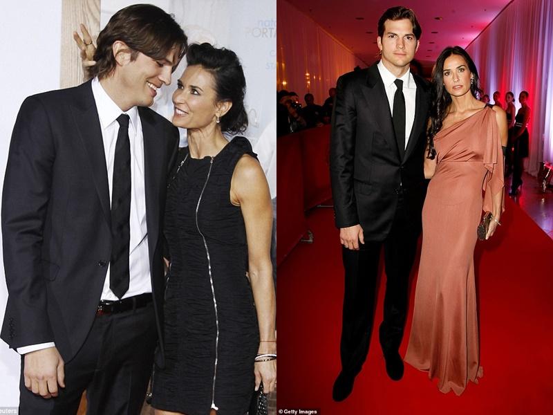 Demi Moore và Ashton Kutcher thời còn mặn nồng được khen ngợi rất xứng đôi dù anh kém cô tới 16 tuổi.