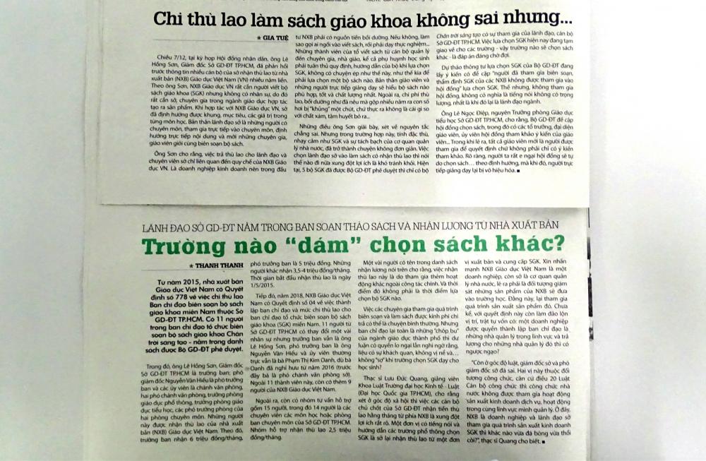 Báo Phụ nữ TP.HCM nhiều lần phản ánh về những bất thường trong việc trả thù lao biên soạn sách giáo khoa nhưng vấn đề này chưa được Sở Giáo dục và Đào tạo TP.HCM trả lời thỏa đáng