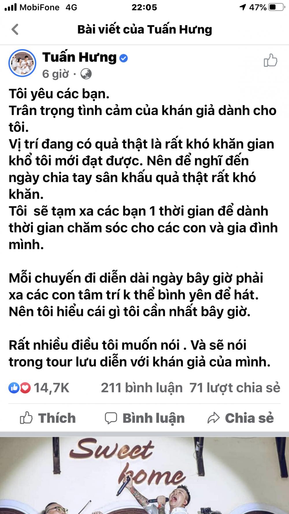 Tuấn Hưng tuyên bố chia tay khán giả (ảnh: fanpage ca sĩ Tuấn Hưng)