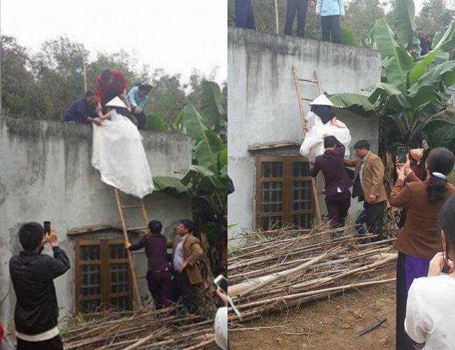 Cô dâu ở Bắc Kan phải trèo tường vào nhà chồng vì mang thai trước gây nhiều tranh cãi. Ảnh từ Internet