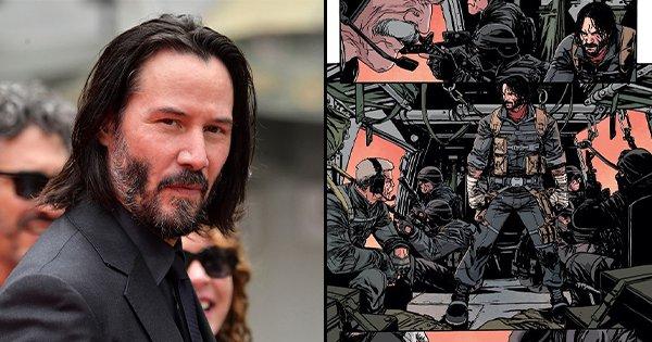 Diễn viên Keanu Reeves và hình ảnh series truyện tranh sắp ra mắt.