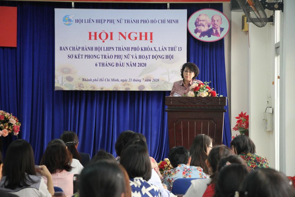 Bà Tô Thị Bích Châu - Chủ tịch UBMTTQVN TP.HCM phát biểu tại Hội nghị.