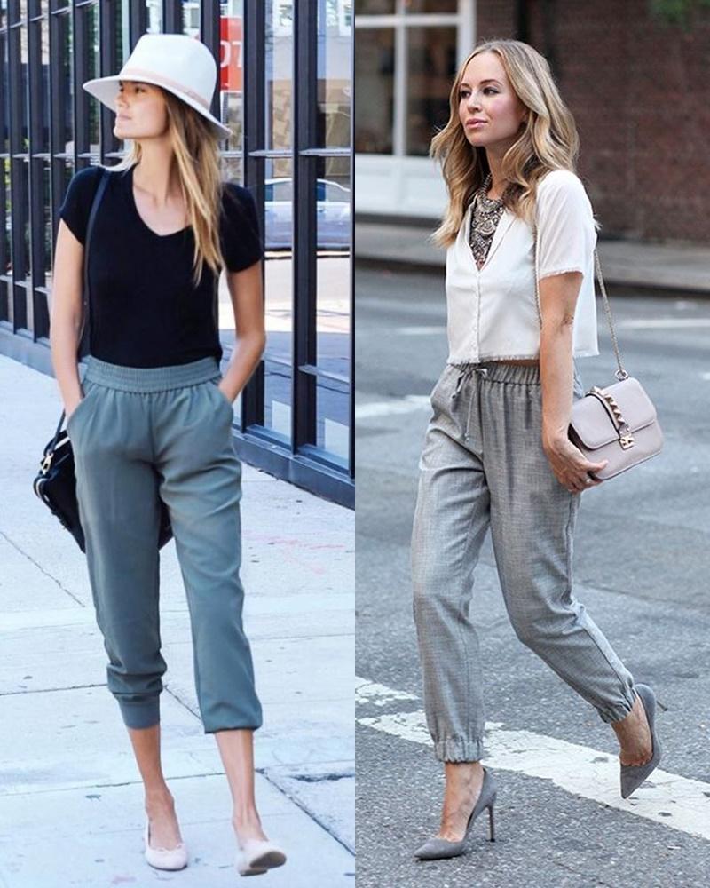 Áo thun và áo croptop là 2 item cực kì dễ phối với quần jogger. Bạn chỉ cần chọn màu áo tương phản với màu quần là đủ nổi bật. Tuy nhiên nếu muốn mặc đi làm thì nên chọn kiểu áo croptop dài ngang eo, quần lưng cao để không bị hở quá đà.
