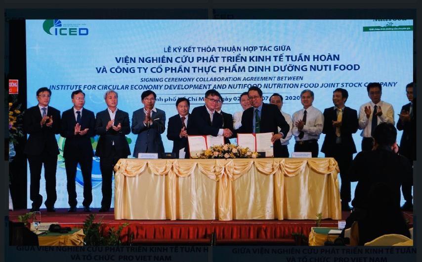 Ông Trương Hùng – Phó chủ tịch HĐQT (bên phải) đại diện NutiFood ký kết hợp tác với ICED