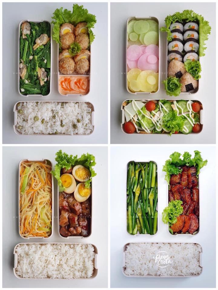 Mỗi bữa ăn có đủ ba món, riêng món canh chị đựng ở hộp riêng để chồng tiện mang đi làm. Ảnh do nhân vật cung câp