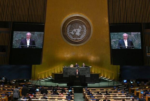 Thủ tướng Úc Scott Morrison phát biểu trong một phiên họp của Đại hội đồng LHQ - Ảnh: Benarnews