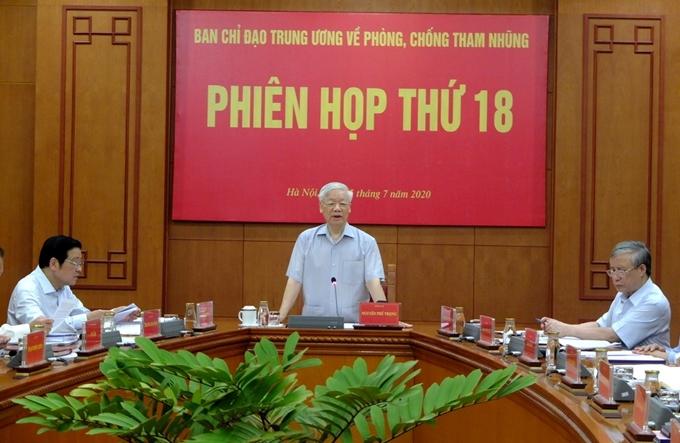 Tổng Bí thư, Chủ tịch nước Nguyễn Phú Trọng - Trưởng Ban Chỉ đạo Trung ương về phòng, chống tham nhũng phát biểu chỉ đạo tại Phiên họp.