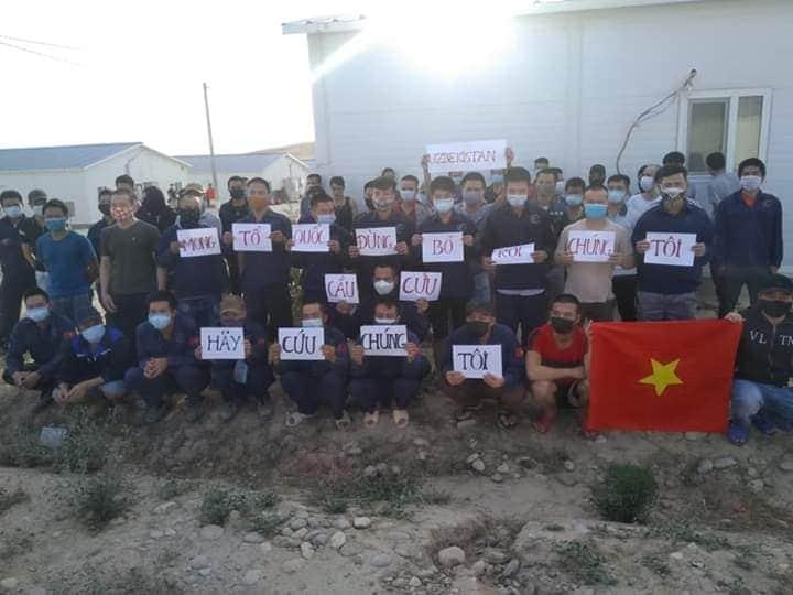 Hình ảnh các công dân tại Uzebekistan được đăng tải trên mạng xã hội.
