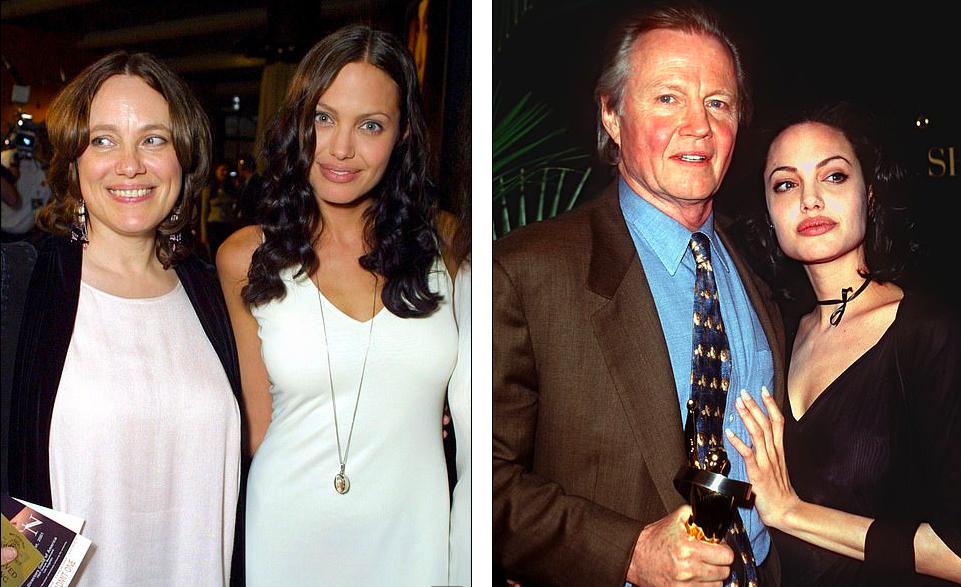 Angelina Jolie bên cạnh bố mẹ tại các sự kiện điện ảnh khác nhau.