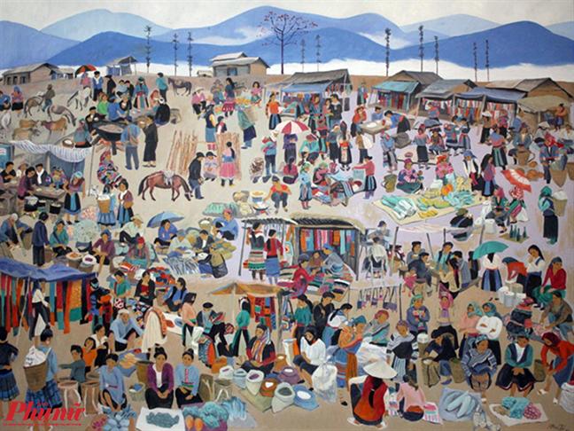 Bức Chợ phiên vùng cao của hoạ sĩ Trịnh Thái.