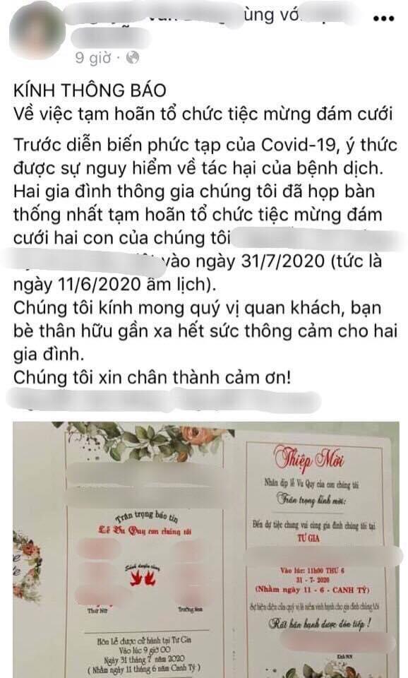 Thông báo hoãn đám cưới của một gia đình ở Cam Lộ, Quảng Trị. Ảnh từ Facebook