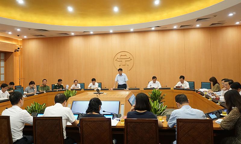 Toàn cảnh cuộc họp Ban chỉ đạo Ban Chỉ đạo phòng, chống dịch COVID-19 TP. Hà Nội.