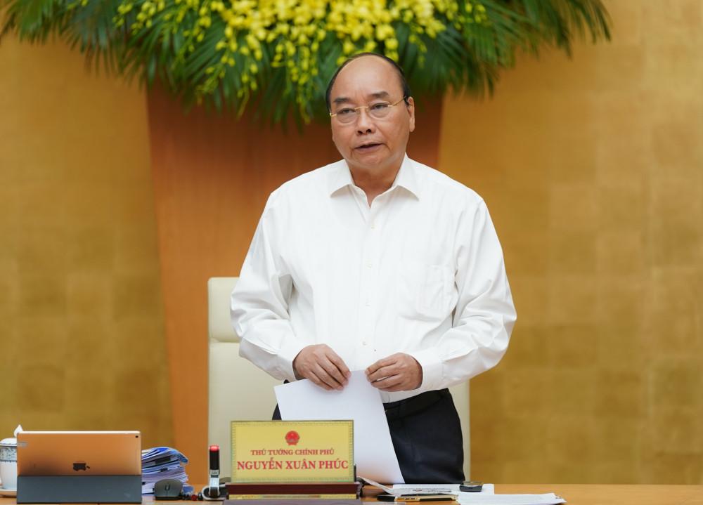 Thủ tướng Chính phủ Nguyễn Xuân Phúc phát biểu tại phiên họp (Ảnh: VGP).