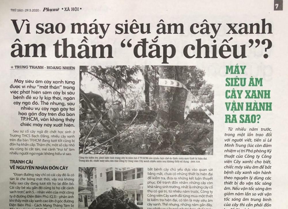 """Bài viết Vì sao máy siêu âm cây xanh âm thầm """"đắp chiếu""""? đăng ngày 29/5 trên Báo Phụ Nữ TPHCM. Ảnh: Quốc Ngọc"""