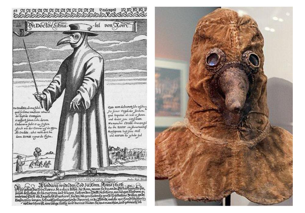 Chiếc mũ che mặt, được xem là chiếc khẩu trang đầu tiên xuất hiện ở thế kỷ 17. Ảnh Internet