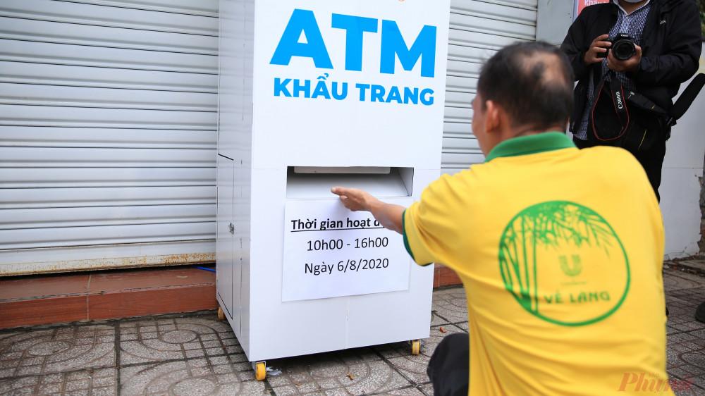 Mỗi tuần 'ATM khẩu trang chỉ phát một lần vào thứ 5, trong khung giờ từ 10 đến 16 giờ.