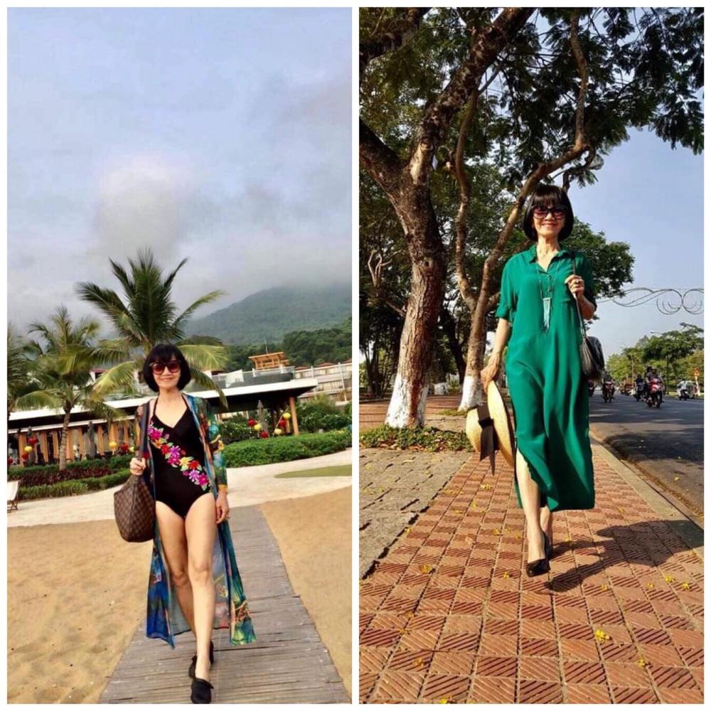 Cô Hậu có thân thể chắc lẳn nên mặc bikini ra biển vẫn khiến con cháu kinh ngạc (ảnh do nhân vật cung cấp)