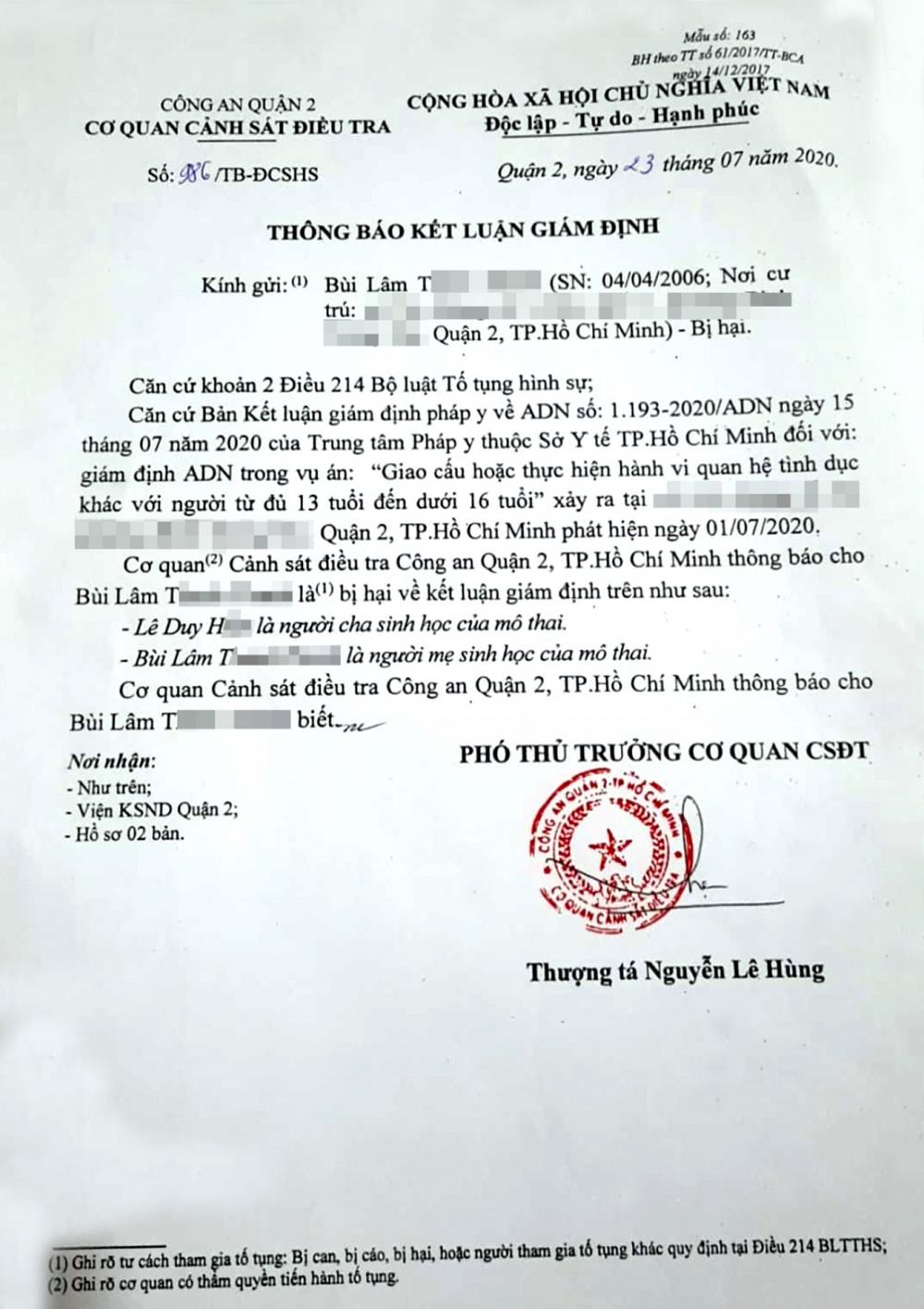 Kết quả giám định pháp y xác nhận Lê Duy H. là cha sinh học của mô thai mà bé T. đã mang