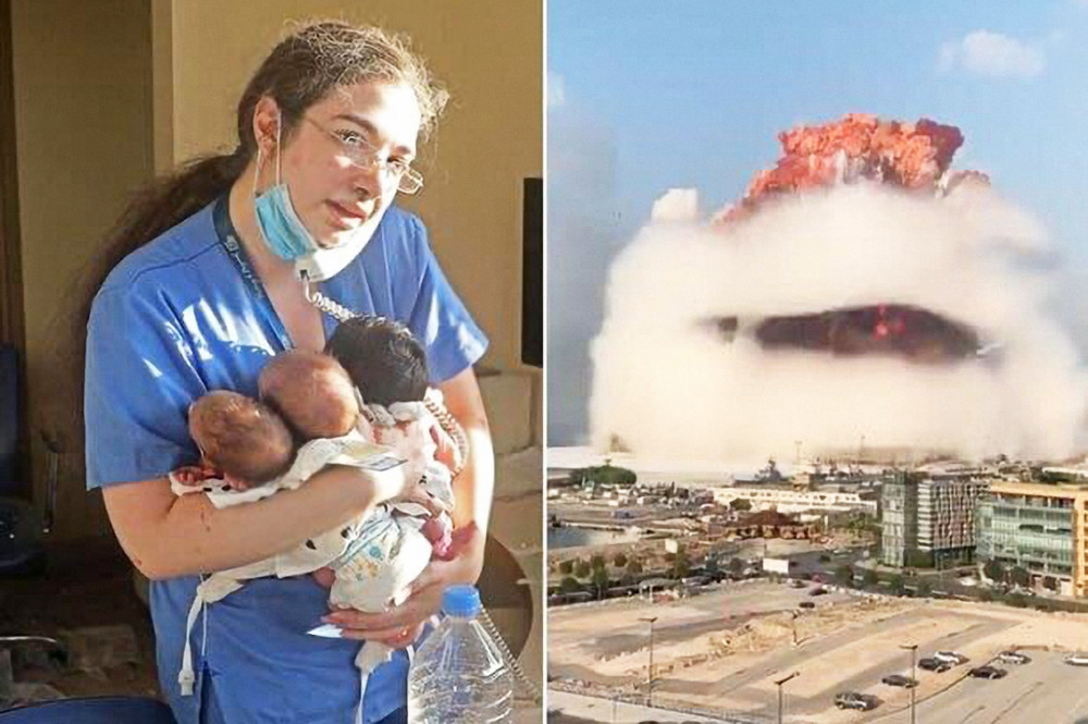 Bức ảnh do nhiếp ảnh gia của kênh CNN ghi lại khoảnh khắc nữ y tá ôm ba đứa trẻ sơ sinh tại một bệnh viện đổ nát sau vụ nổ
