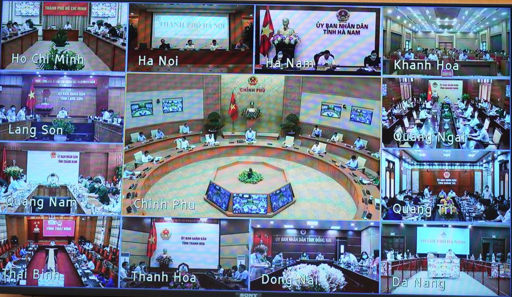 Các điểm cầu tham gia họp trực tuyến (Ảnh: VGP).