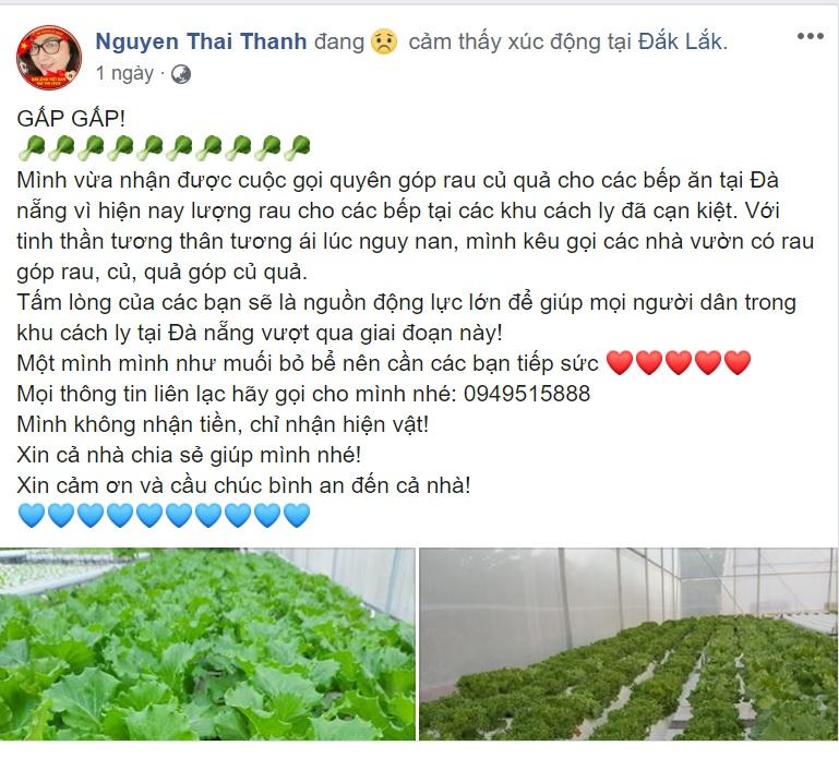 Nội dung kêu gọi quyên góp rau mà chị Thanh đăng trên facebook