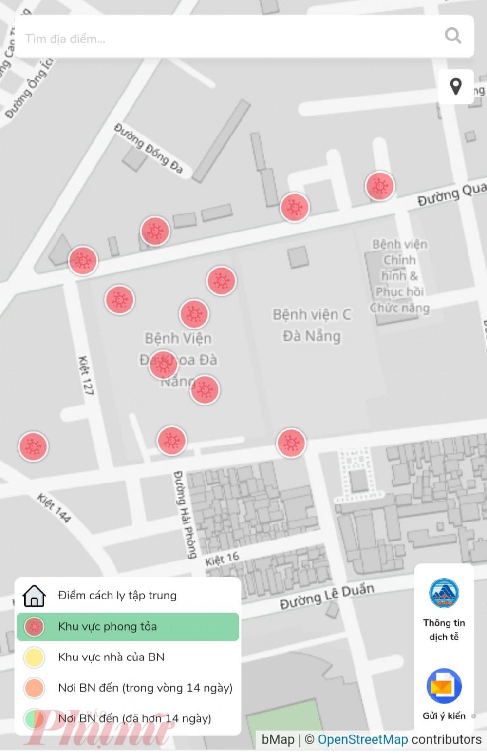 Chọn vào khu vực phong tỏa, bản đồ sẽ hiển thị các vùng phong tỏa ở thành phố