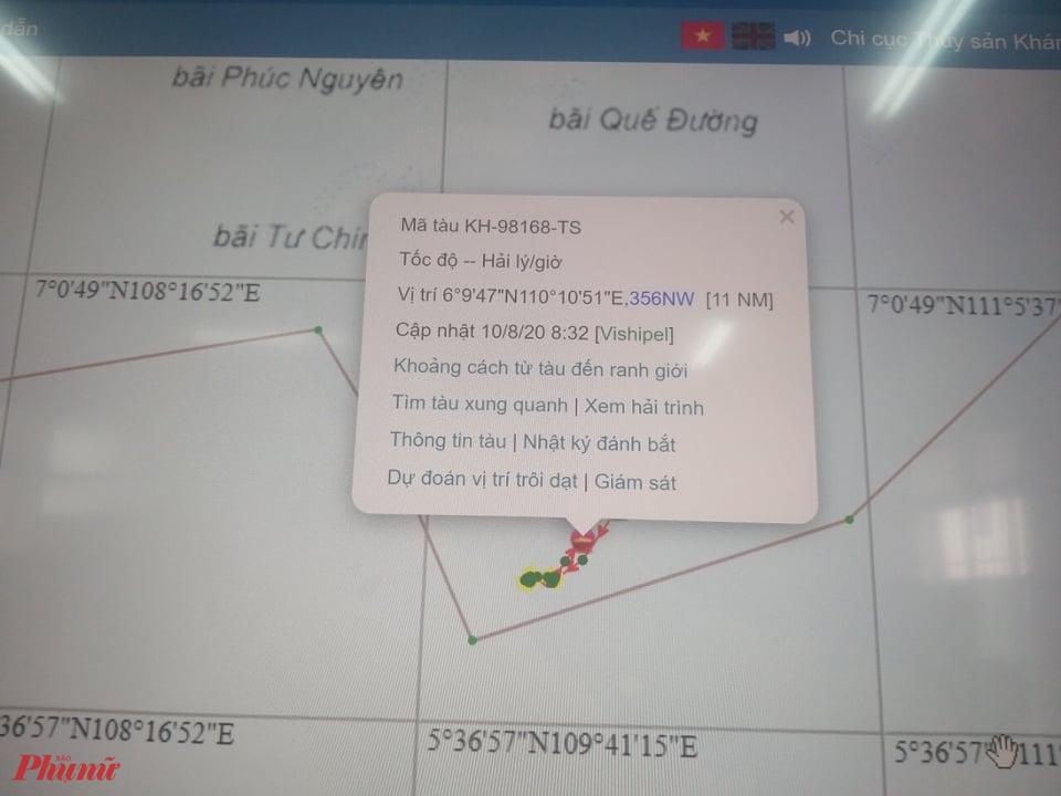 Tọa độ tàu cá KH-98168-TS thời điểm bị bắt giữ