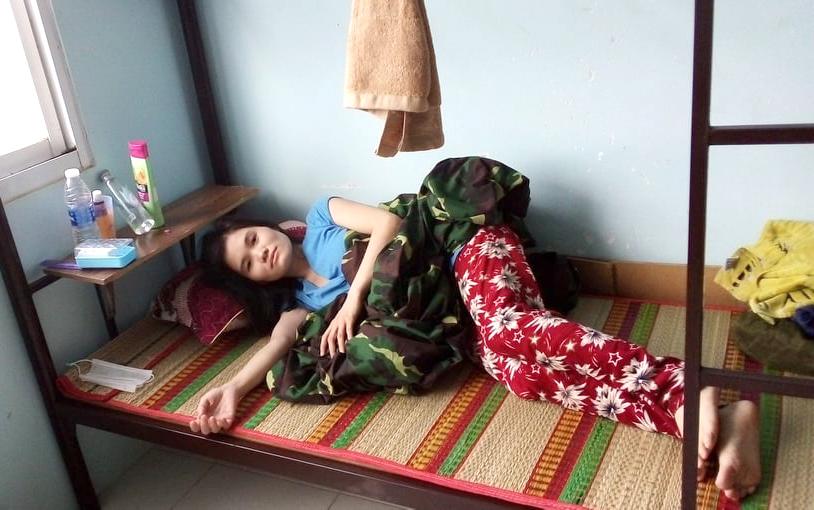 Chị Hằng được đón vào khu cách ly tại tỉnh Bạc Liêu