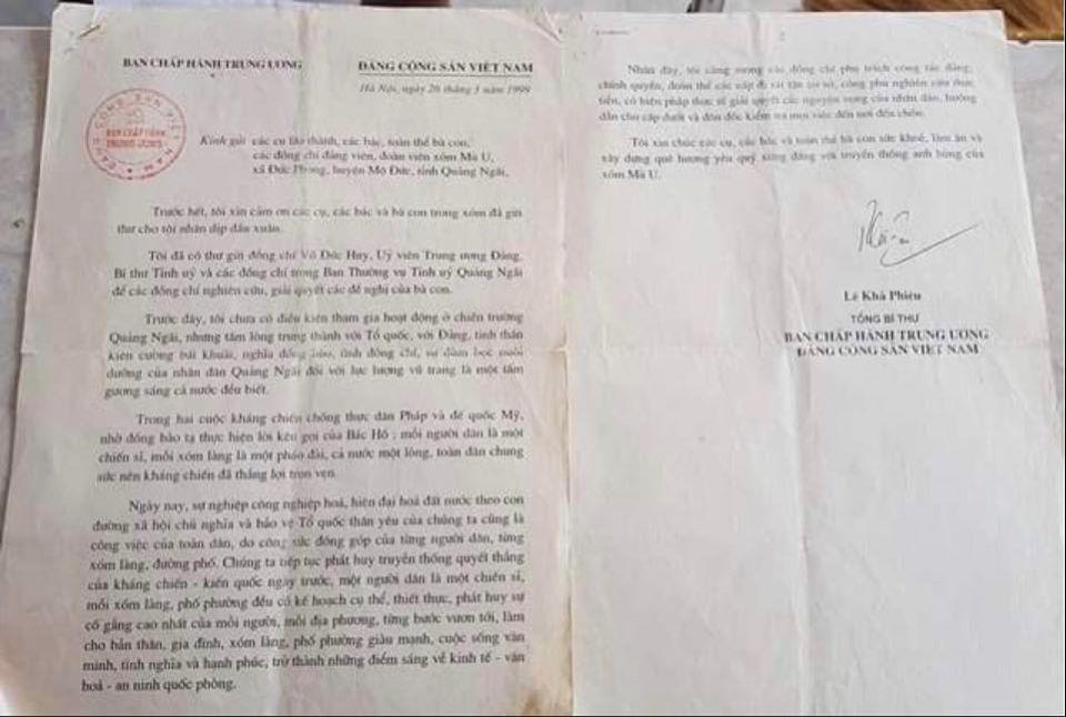 Một trong những lá thư Bác Lê Khả Phiêu gửi cho người dân xóm Mù U