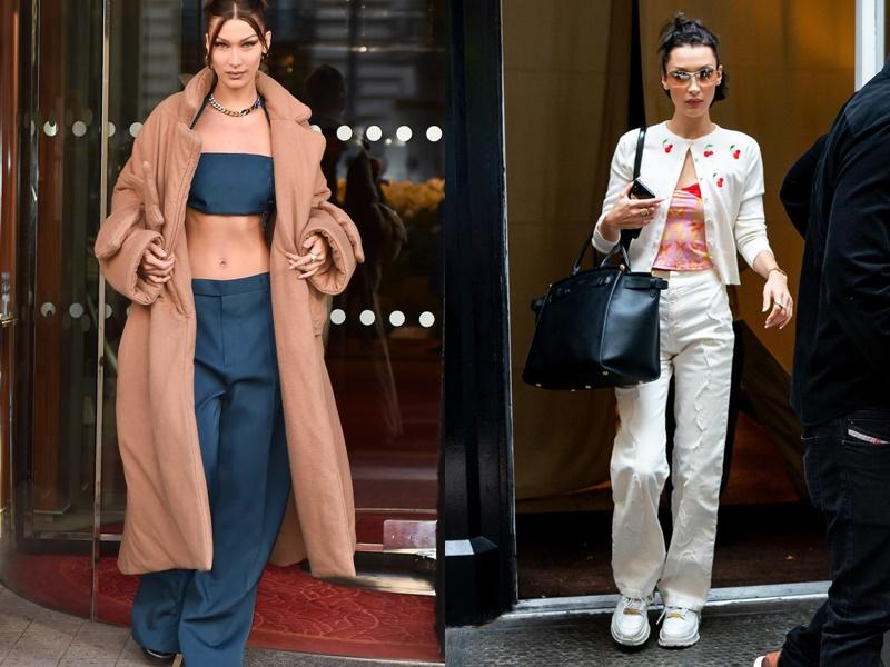 Bella là một trong những mỹ nhân đặc biệt ưa chuộng thời trang của những năm đầu 2000. Quần ống rộng và áo croptop là cách mix đồ quen thuộc của siêu mẫu khi ra đường giúp cô nàng khoe khéo vòng eo săn chắc, quyến rũ nhưng không kém phần cá tính.