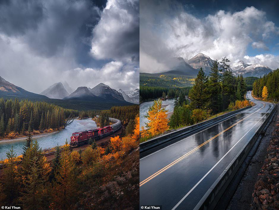 Hai bức ảnh tuyệt đẹp Kai Yhun ghi lại từ Morant's Curve một khu vực gần Hồ Louise, nơi bạn có thể nhìn thấy các đoàn tàu Đường sắt Thái Bình Dương của Canada