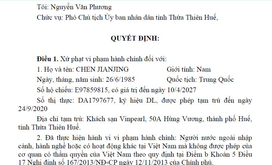 Một trong 7 quyết định được UBND tỉnh Thừa Thiên - Huế  công bố vào chiều nay 12/8