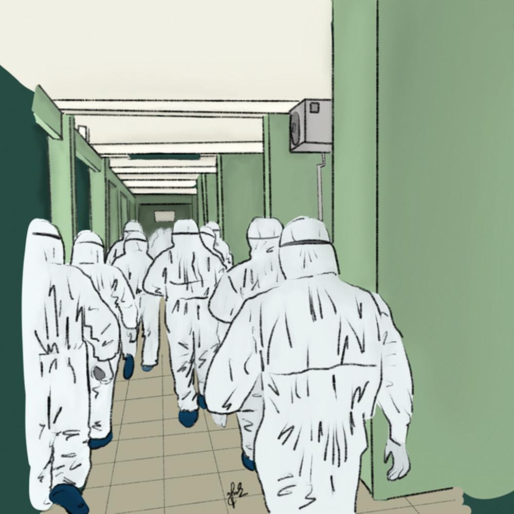 Bức ảnh về các bác sĩ ở tuyến đầu gây xúc động được tác giả Nguyễn Minh Anh (sinh viên Trường đại học Kinh tế - Đại học Đà Nẵng) ký họa lại