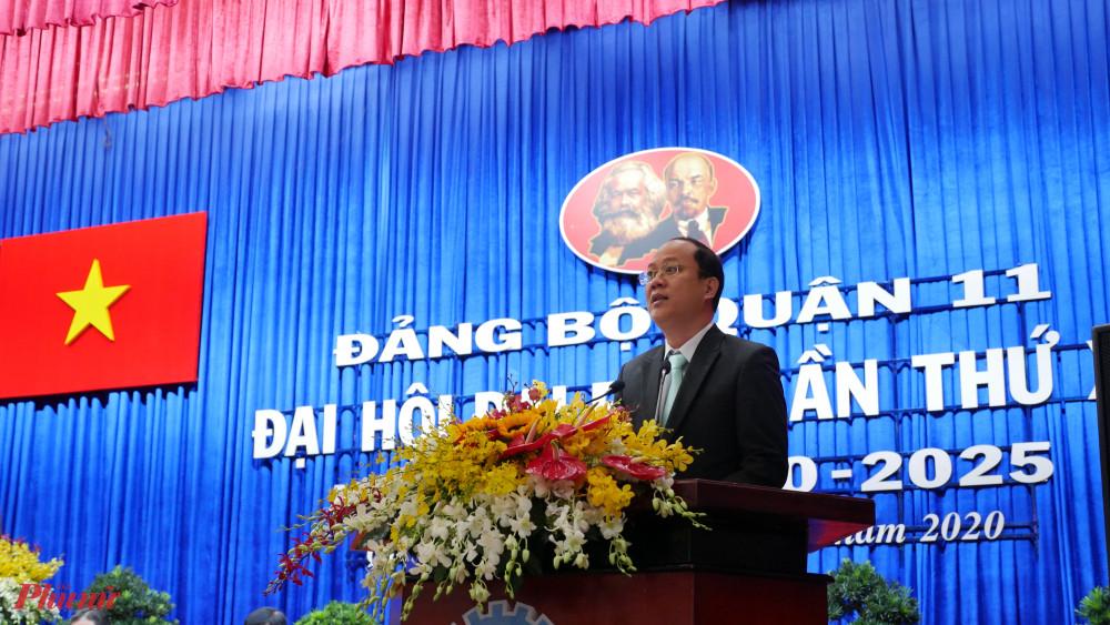 Trưởng ban Tổ chức Thành ủy TPHCM Nguyễn Hồ Hải  phát biểu tại Đại hội