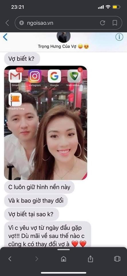 Người vợ tung những tin nhắn của chồng lúc còn mặn nồng