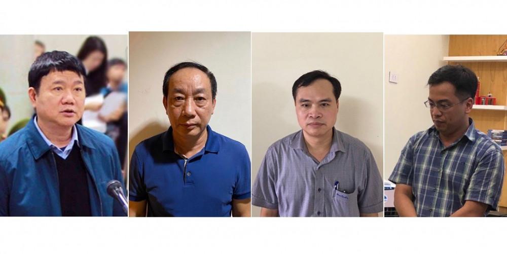 Các bị can (từ trái sang): Đinh La Thăng, Nguyễn Đình Trường, Nguyễn Chí Thành, Lê Trung Cường