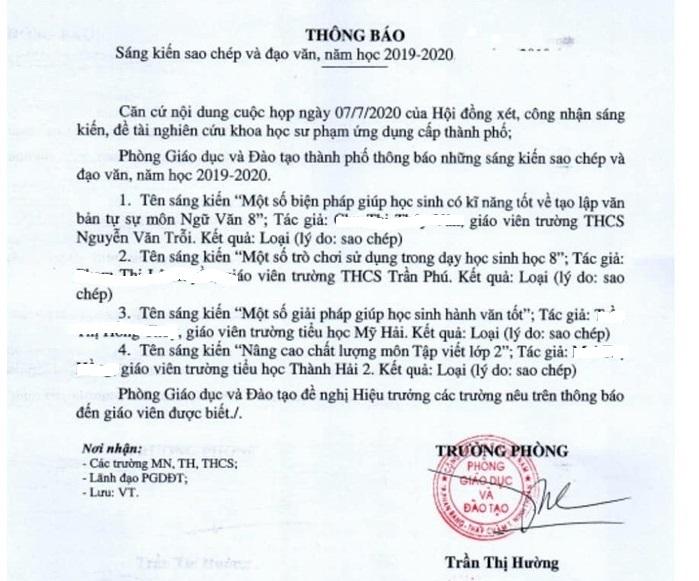 Thông báo của Phòng GD-ĐT TP. Phan Rang – Tháp Chàm về 4 giáo viên sao chép sáng kiến kinh nghiệm