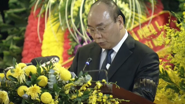 Thủ tướng Nguyễn Xuân Phúc đọc điếu văn tại Lễ truy điệu