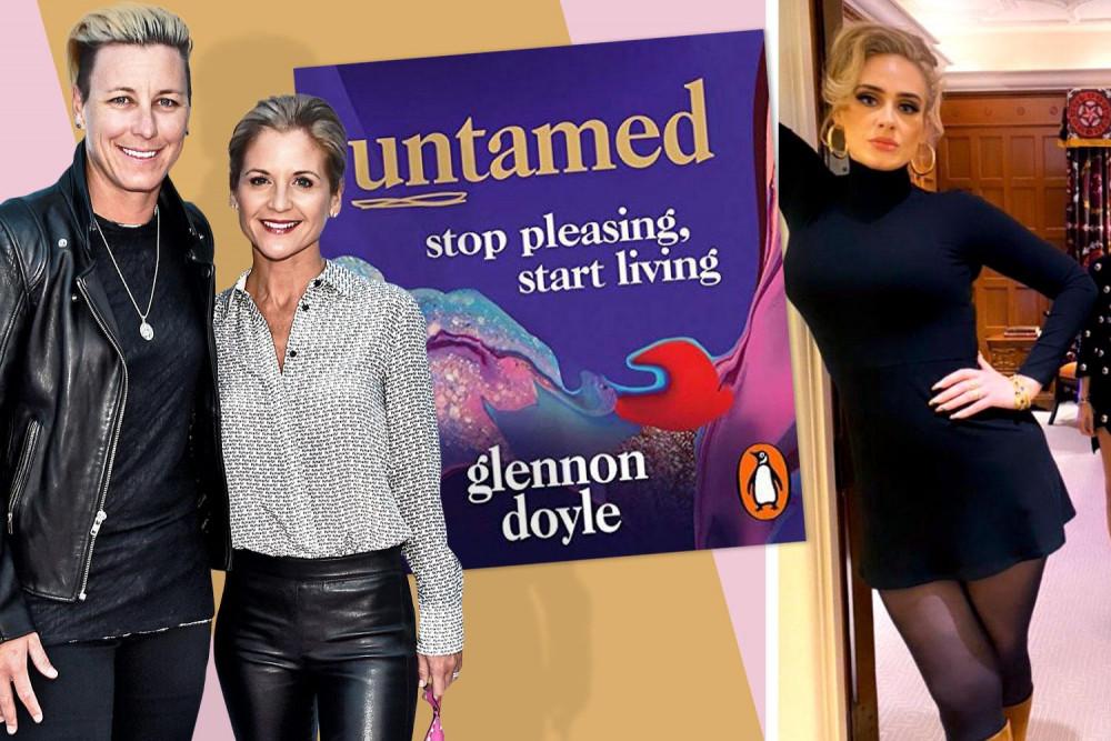 Nữ tác giả Glennon Doyle (ở giữa) cùng chồng và bìa cuốn sách đã giúp thay đổi cuộc đời Adele.