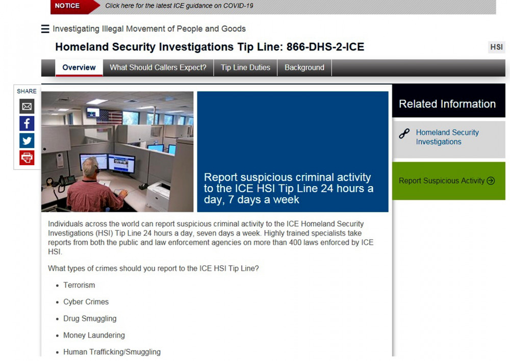 Trang web tiếp nhận thông tin tố giác tội phạm xuyên quốc gia của Cục Điều tra an ninh nội địa Hoa Kỳ - Ảnh: Quốc Ngọc