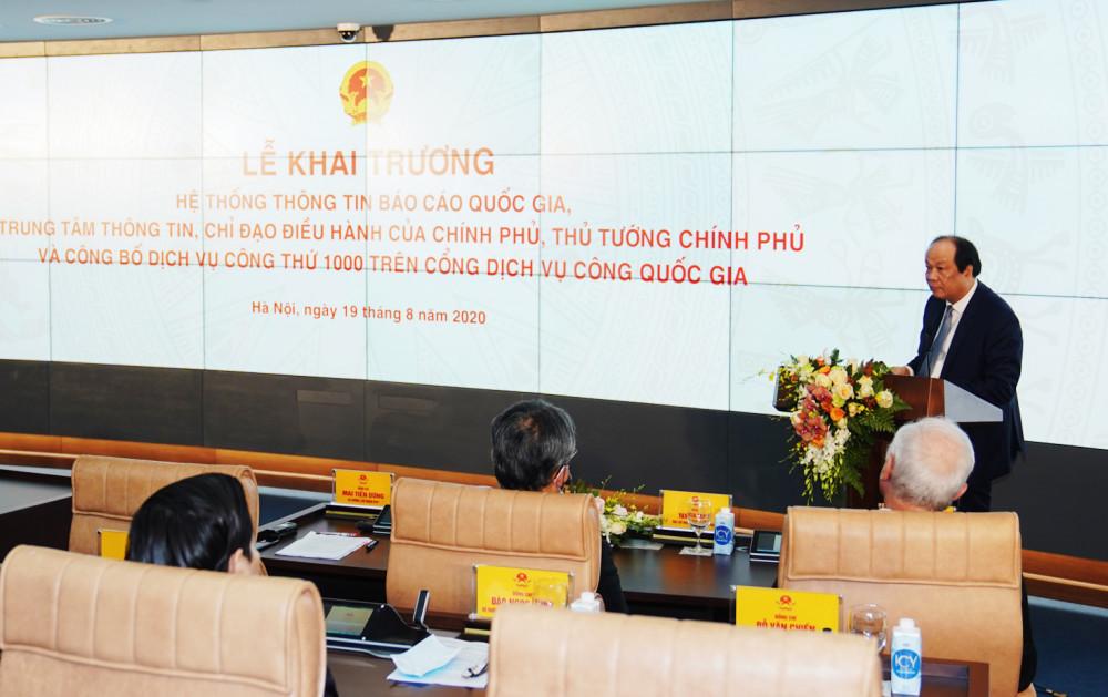 Bộ trưởng, Chủ nhiệm VPCP Mai Tiến Dũng phát biểu tại buổi lễ. Ảnh: VGP/Quang Hiếu