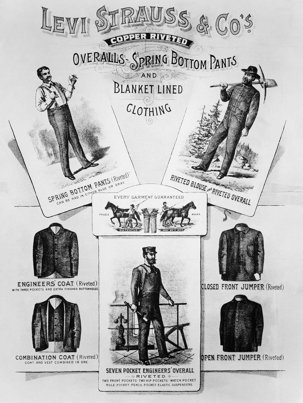 Năm 1880, Trong quảng cáo denim đầu tiên được biết đến, Levi Stratuss cho khách hàng thấy những sản phẩm được cung cấp.
