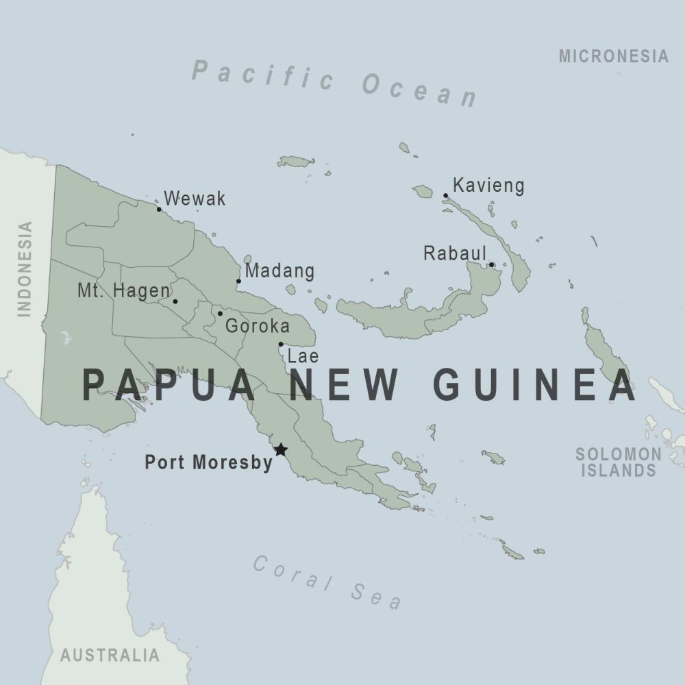 Papua New Guinea ;à một quốc gia nghèo tiếp giáp với Indonesia và nằm phái Bắc Úc.